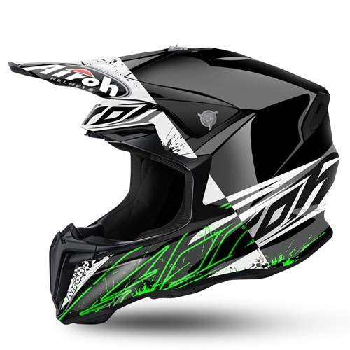 AIROH TWIST SPOT BLACK/WHITE/GREEN GLOSS