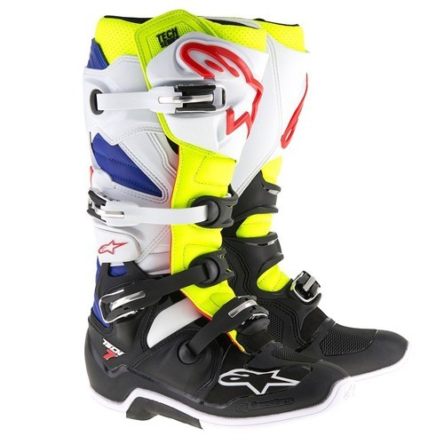 AlpineStars TECH 7 BOOT White Yellow Fluo Blue