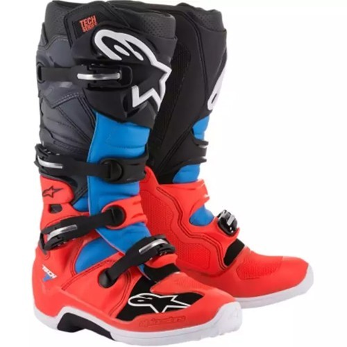 Alpine Star TECH 7 BOOT Fluro Red Cyan Grey Black