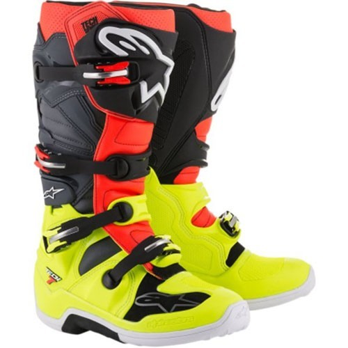 AlpineStars TECH 7 BOOT Fluro Yellow Fluro Red Grey Black